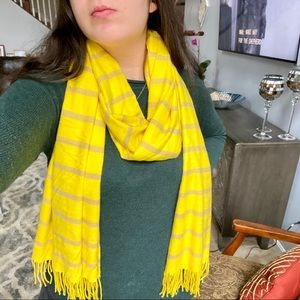 Yellow Scarf with Purple Stripes
